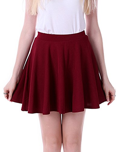 [HDE Women's Jersey Knit Flare A Line Pleated Circle Skater Skirt (Burgundy, Medium)] (Daria Costume)