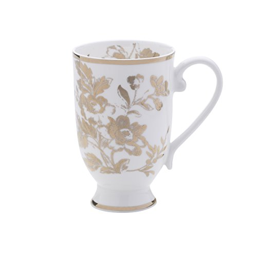 Bone Footed China Cup - Mikasa Bone China Footed Coffee Mug, 16-Ounce, Toile White/Gold