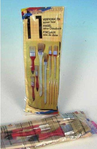 Chinaborste zum Malen und Streichen LHS Maler Pinsel SET 11 tlg Rund Flach Pinsel