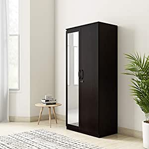 Amazon Brand - Solimo Vega Engineered Wood 2 Door Wardrobe  with Drawer & Full Mirror (Espresso Finish)