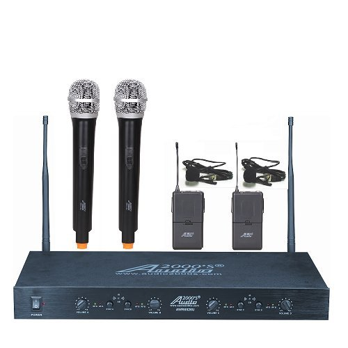 Audio2000'S AWM6526UE PLL 16-Frequency 4-Channel Wireless System with Two Handheld Microphones and Two Lavaliere Transmitters - Four Channel Wireless Lavaliere Microphone