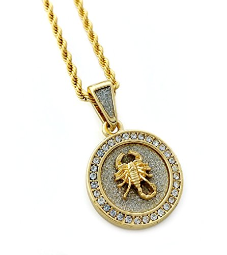 Scorpion Mini Medallion Pendant Necklace in 18k Gold Finish with 24