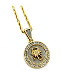 "Scorpion Mini Medallion Pendant Necklace in 18k Gold Finish with 24"" Rope Chain"