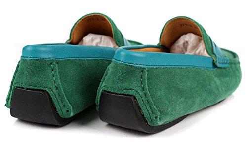 Santimon Mens Casual Komfort Äkta Nubuck Läder Utomhus Låga Båt Skor Mockasin Loafers Grönt
