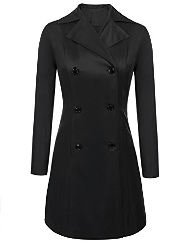 Showyoo Women's Petite Trench Coat Vintage Black Long Trench Coat Black L