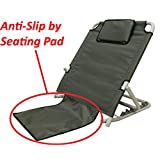 "ObboMed SM-5200G Adjustable Sit-up Back Rest for Orthopedic Neck, Head and Lumbar Support, Polyester, PVC & Chromed Steel Frame, Check, 22.5"" x 25.6"" x 19.7"", 1 Piece"
