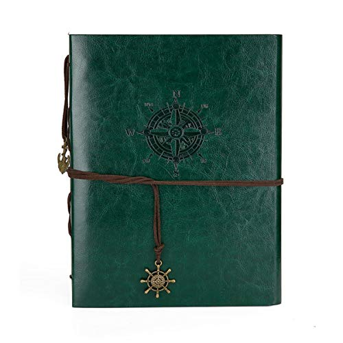 Camilla Baby DIY Scrapbook Leather Photo Album Memory Book 60 Pages for Baby Anniversary Birthday Wedding Travel Graduation Picture (Large, Green Compass)]()