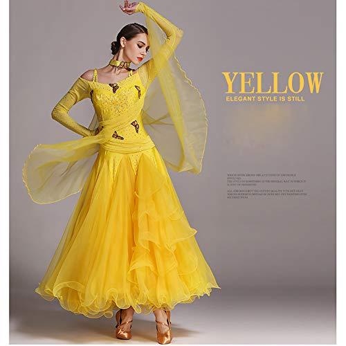 Festa Oscura Ricamo Concorrenza Dhtw Vestito amp;r Palcoscenico Flessibile Costumi Donna Mano Gonna A Yellow Abiti Elegante Tentazione Adulto Danza wvxqgZS