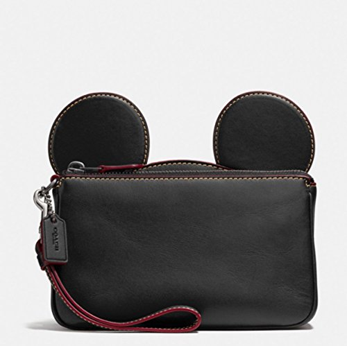 Coach Mickey Leather Ear Wristlet in black F59529 by Coach