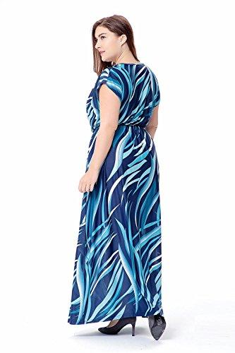 Falda del vestido de la manga del cortocircuito de la impresión del V-cuello del verano de las mujeres , 6xl , blue