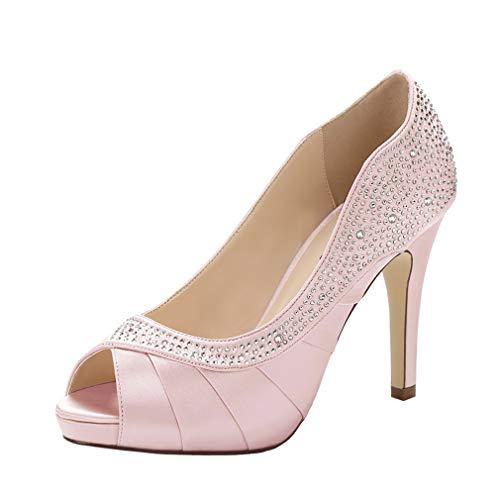 ERIJUNOR E1613 Women Peep Toe High Heels Comfortable Fashion Rhinestones Satin Evening Prom Wedding Sandal Shoes Blush Size 8