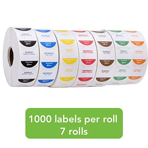 Removable 1 Inch Day of The Week Labels - 1 Roll for Each Day - 1000 Labels per Roll - 7000 Labels (Restaurant Food Labels)
