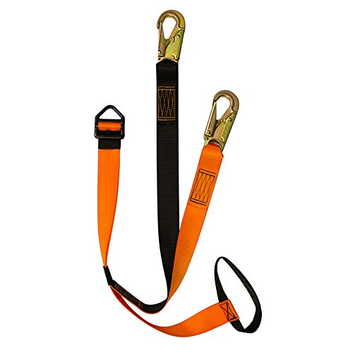 Fusion Climb 6' Y Legged Offset Lanyard Double Locking Snap Hook 5' Handle Delta Ring, Black/Orange by Fusion Climb