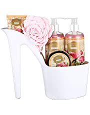 Draizee Heel Shoe Spa Gift Set – Rose Scented Bath Essentials Gift Basket With Shower Gel, Bubble Bath, Body Butter, Body Lotion & Soft EVA Bath Puff – Luxurious Home Relaxation Gifts For Women