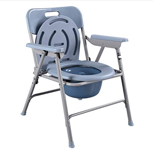 - Folding Commode Chair Toilet,with Armrests/Lid/Potty,Anti-Slip Safety Frame is Stable - Load 150kg (330 Lbs)