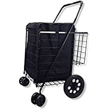 Double Basket Flat Folding Shopping Cart with Swivel Wheels for Laundry Grocery Shopping (Black Cart with Black Liner)
