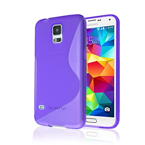 Samsung Galaxy S5 Case, [RUBBER] Galaxy S5 Case, by Cable and Case(TM) - Transparent Purple Non-Slip Soft Jelly Phone Cover With Vibrant Trendy Colors And Sure Grip Texture (Galaxy S5)