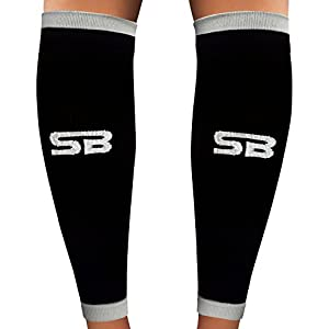 SB SOX Compression Calf Sleeves (20-30mmHg) for Men & Women - Perfect Option to Our Compression Socks - For Running, Shin Splint, Medical, Travel, Nursing, Cycling, and Leg Pain (Black/Gray, Medium)