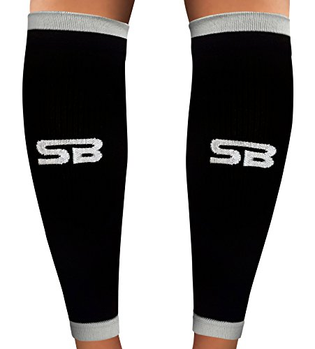 SB SOX Compression Calf Sleeves (20-30mmHg) for Men & Women - Perfect Option to Our Compression Socks - For Running, Shin Splint, Medical, Travel, Nursing, Cycling, and Leg Pain (Black/Gray, - For Running Equipment Men