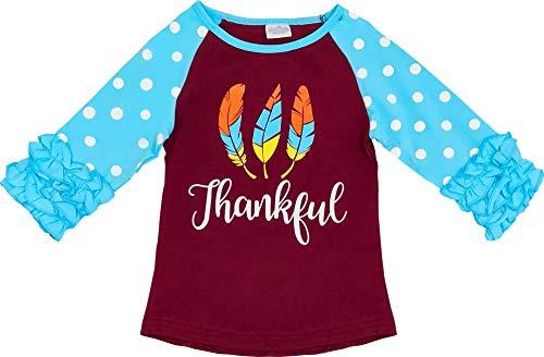 Angeline Boutique Clothing Girls Thanksgiving Ruffles Raglan T-Shirt Brown Blue 3T/M