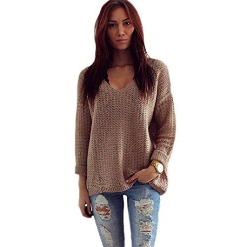 WOCACHI Damen Frauen Langarm-V-Neck Pullover Pullover Strickjacke lose Sweaters Mantel Jacke Braun (L, Braun)