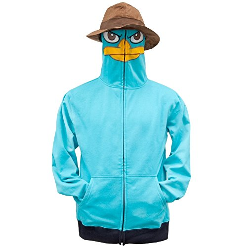 Phineas Ferb Costumes Halloween (Phineas & Ferb Men's I am P Fleece Hoodie, Turquoise, Medium)