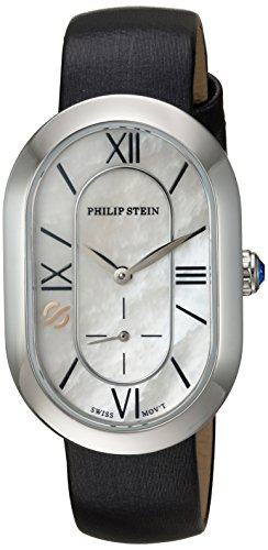 Philip Stein Women's 'Modern' Swiss Quartz Stainless Steel and Leather Casual Watch, Color:Black (Model: 74-CMOP-IB)