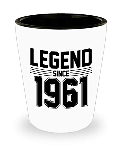 Legend Since 1961 Ceramic Shot Glass P9-58 years old Birthday Novelty White/Black 1.5oz Ceramic Shot Glasses Gifts ()