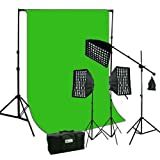 ePhoto Studio Continuous Video Light Softbox HoneyComb Grid Kit & 10 x 12 ChromaKey Digital Green Screen Muslin Background Support HGD2-1012G