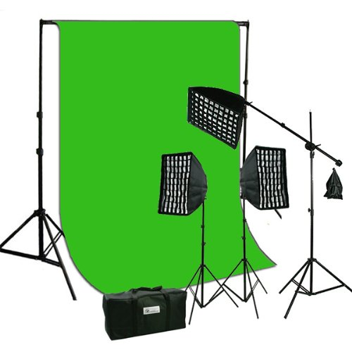 ePhoto Studio Continuous Video Light Softbox HoneyComb Grid Kit & 10 x 12 ChromaKey Digital Green Screen Muslin Background Support HGD2-1012G by ephoto