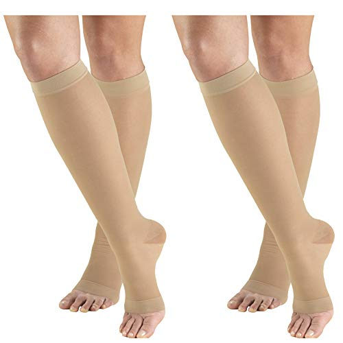 Truform Compression 15-20 mmHg Sheer Knee High Open Toe Stockings Nude, Medium, 2 - Stockings Knee Open High Toe