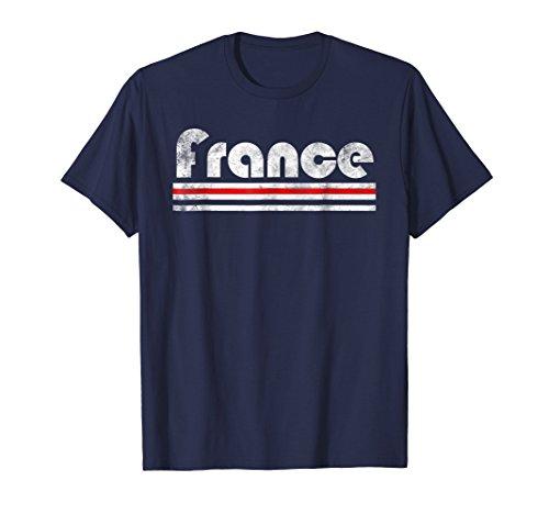 2018 France French Fan Retro Flag T-Shirt Allez Les Bleus ()