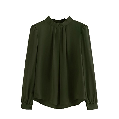 Han Shi Chiffon Blouse, Women Fashion Fold Loose Casual Party Long Sleeve Shirt Tops