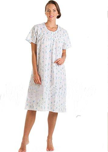 Traje de neopreno para mujer de manga corta para camisón de algodón y poliéster azul o de flores de color rosa diseño de impresión en tamaños permiten el paso de la 32 10 Azul