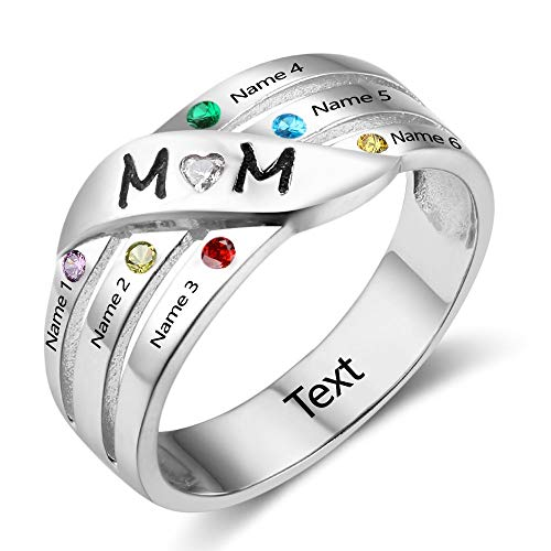 Personalized Mom's Rings Sterling Silver Mothers 6 Birthstone Daughters Family Mom Rings Key Product Features (9)