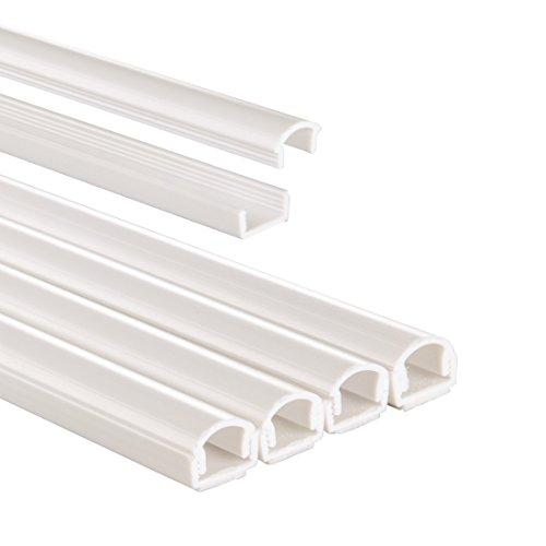 Hama Kabelkanal PVC (halbrund, 100 x 1,1 x 1,0 cm, bis zu 2 Kabel, 4 Stück), weiß