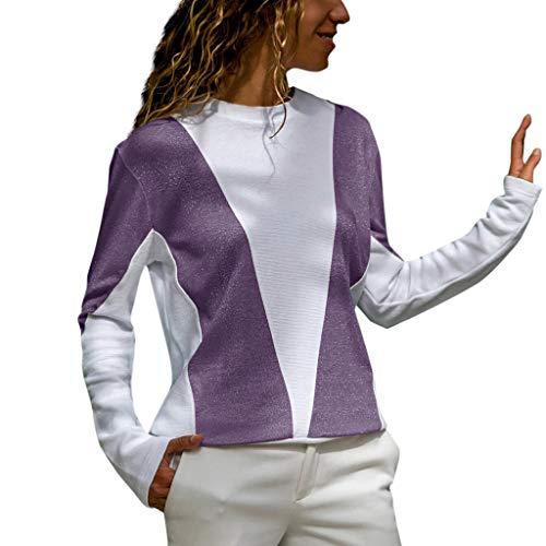 AOJIAN Blouse Women Long Sleeve T Shirt Sparkle Glitter Splice O-Neck Tees Tank Shirts Tops Purple
