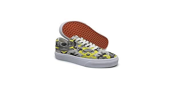 5679252bc984b Amazon.com: Ouxioaz Womens Fashion Sneaker Yellow Grey Camo Shoe Laces:  Sports & Outdoors