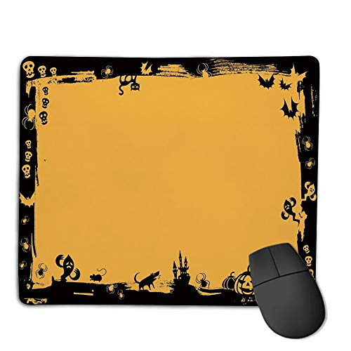 Premium-Textured Mouse Mat,Non-Slip Rubber Mousepad Waterproof,Halloween,Black Framework Borders with Halloween Icons Cats Bats Skulls Ghosts Spiders Decorative,Yellow Black,Applies to Games,Home, s]()