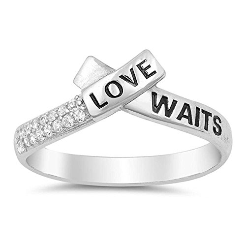 Sterling Silver Love Waits Promise Band Purity Ring Sizes -