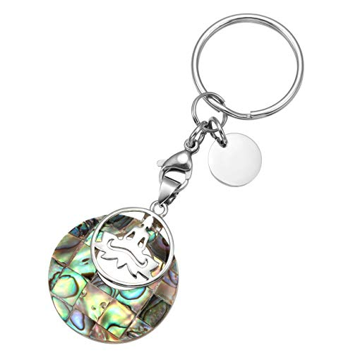 - Top Plaza Custom Keychain - Personalized Name Engraved Gemstone Healing Crystal Pendant Yoga Meditation Charm Keychains Key Ring - Abalone Shell - No Customize