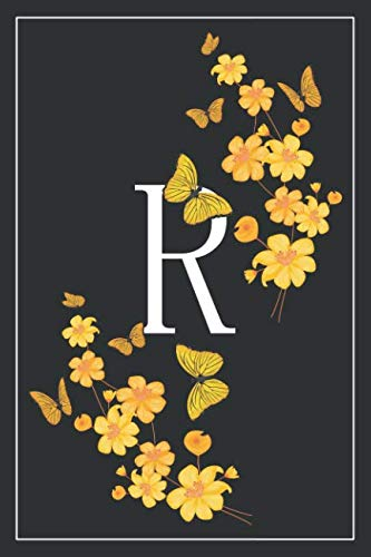 R: Elegant Monogram Initial Blank Lined Journal Notebook for Women and Girls (Yellow Butterfly Floral)