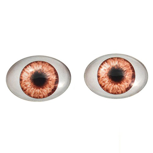 - Brown Doll Oval Glass Eyes Fantasy Taxidermy Art Doll Making or Jewelry Crafts Set of 2 (18mm x 25mm)