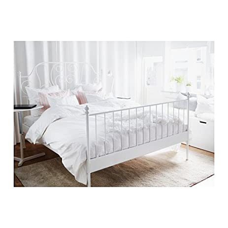 Amazon.com: Ikea Leirvik Bed Frame White Queen Size Iron Metal Country  Style: Kitchen & Dining