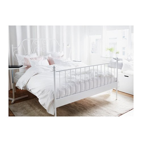 Ikea Leirvik Bed Frame White Queen Size Iron Metal Country
