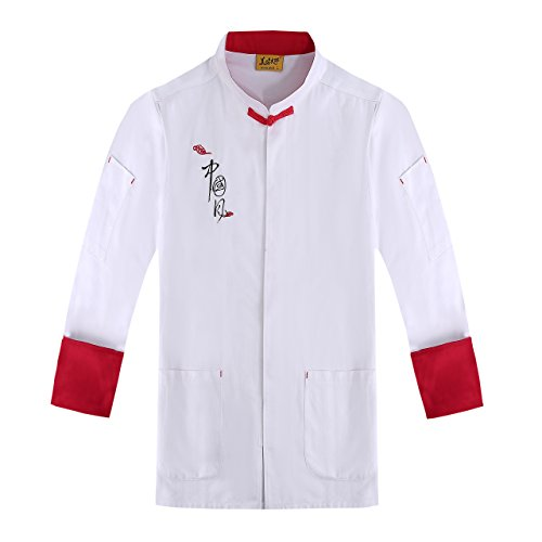AETEL Men's ¾ Sleeve Chinese style Chef Coat with Red Piping (XX-Large, White)