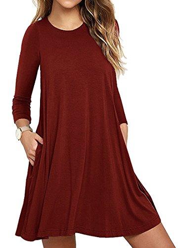 Mujer Casual Loose Talla Grande Vestido de Camiseta con Bolsillos O-Cuello Manga Larga Vestido de Fiesta de Noche Vino Rojo