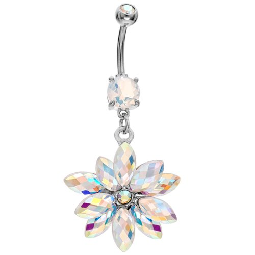 AB Shimmering Snowflake Dangle Belly Button Ring