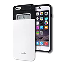 iPhone 6 / 6S Plus Wallet Case [Card Slot] [Heavy Duty] Slim Fit Ergonomic Hybrid Tough Shield Front Screen Drop Protection Rubber Back Bumper Slide Cover Apple iPhone6 iPhone6S Plus (White)