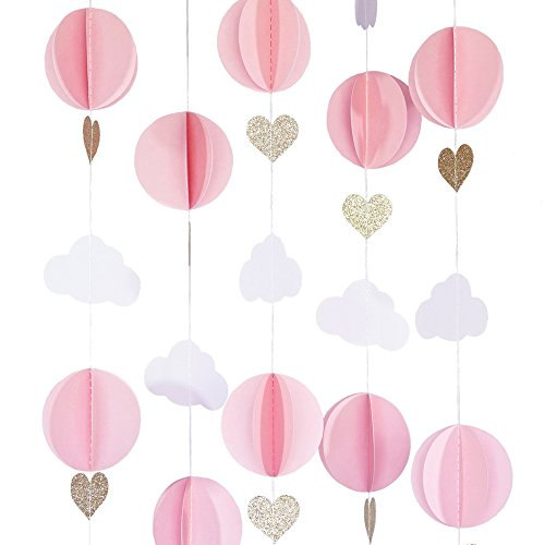 Hot Air Balloon 3D Paper Garland Baby Room Nursery Decor, Baby Shower (5 Individual Strands, 3 Ft Long Per Strand) - Pink, White & Gold -
